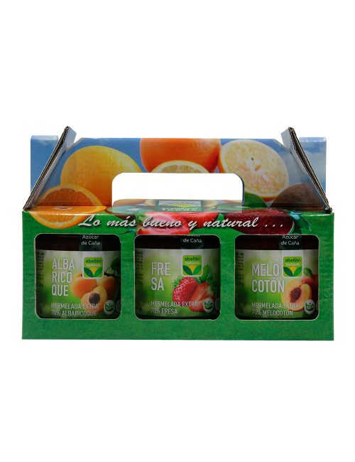 Pack de Mermelada Ecológica Albaricoque, Melocoton y Fresa con Azúcar de Caña