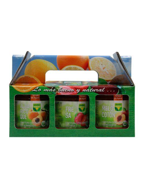 Pack Mermelada Ecológica Albaricoque,Fresa y Melocotón con Sirope de Agave